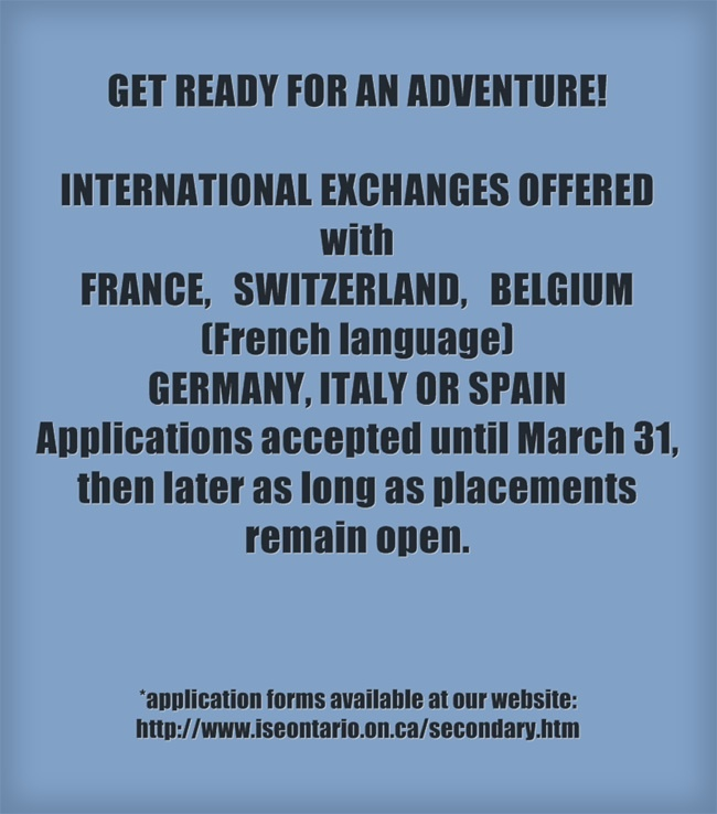Apply now for upcoming Student Exchange opportunities!