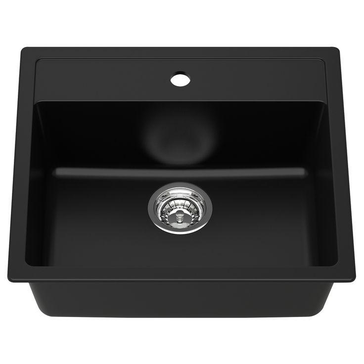 Black Laundry Sink #3: HÄLLVIKEN 1 Bowl Insert Sink Drain+strainer - IKEA