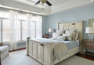 Master Bedroom. Blue master bedroom with white furniture and bedding. #Bluebedroom #WhiteFurniture Melodie Hayes.