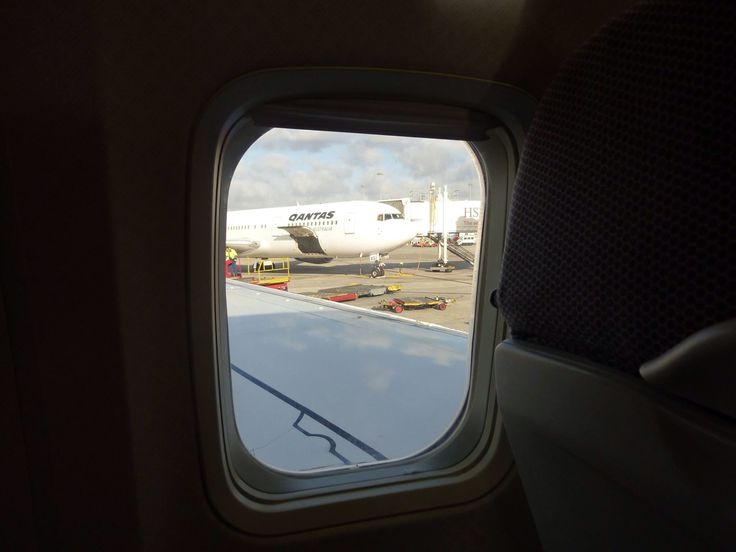 Qantas B767-300 out the window, Sydney Airport