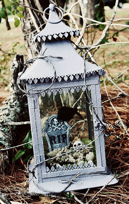 DIY Diorama - An ordinary garden lantern is painted and up-cycled into a creepy Halloween diorama.
