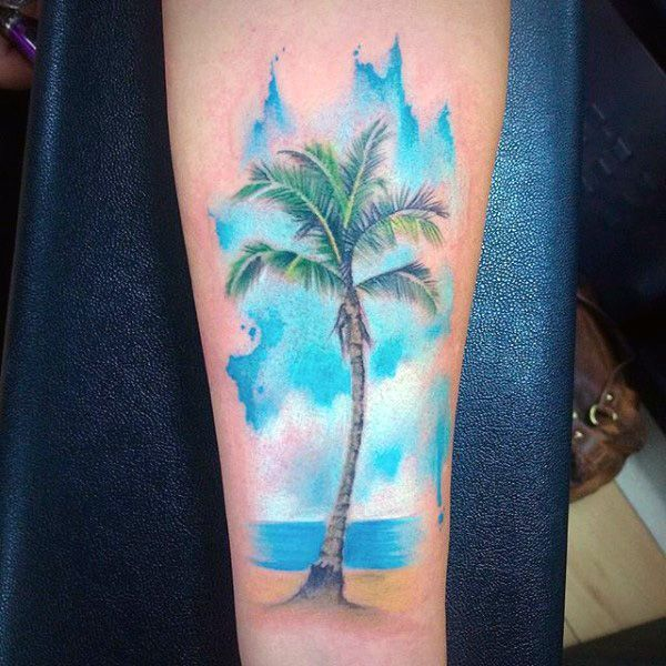 70 Perfect Tattoos That Every Woman Can Pull Off: Cool Sea Blue Palm Tree Tattoo On Legs For Males