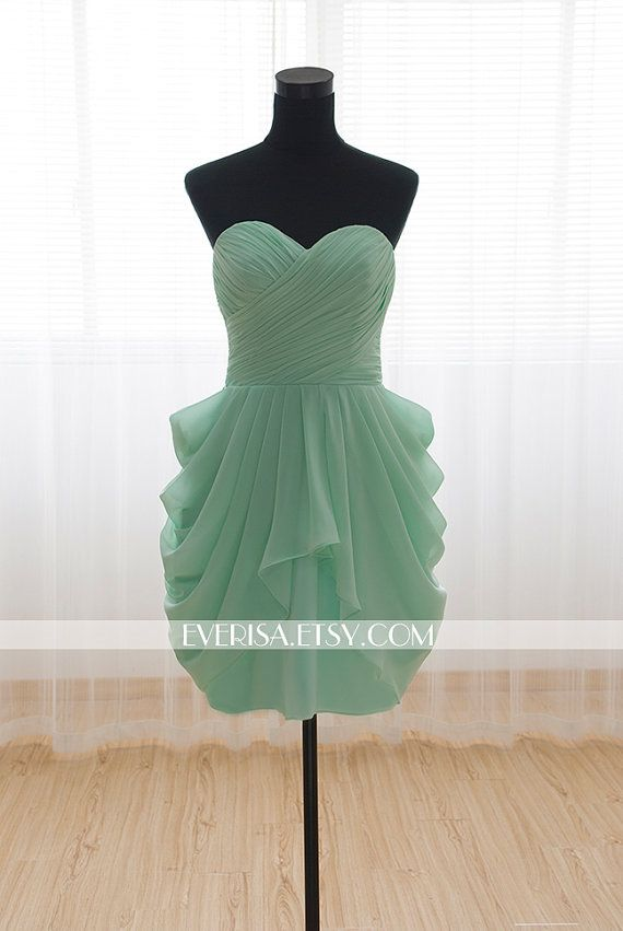 Sweetheart Knee-length Short Mint Bridesmaid Dress Wedding Party Dress Prom Dress 2014 on Etsy, $55.00