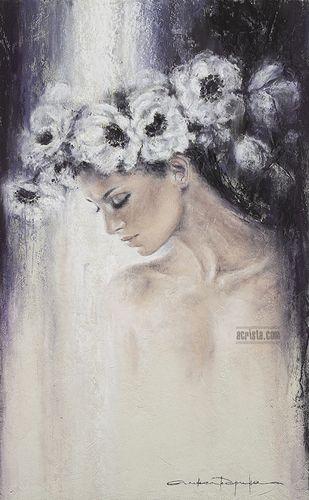 Ink Heart, soft pastel, sold, http://www.acrista.com/en/portfolio/ #art #anemonies #womanface