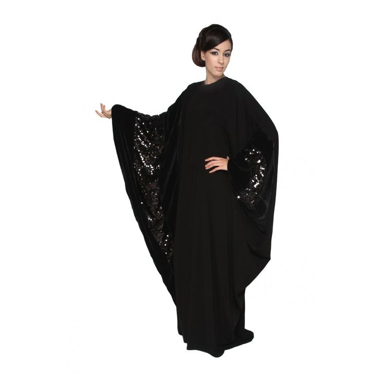 Muslim Dress | Velvetine Sequin Black Butterfly Abaya