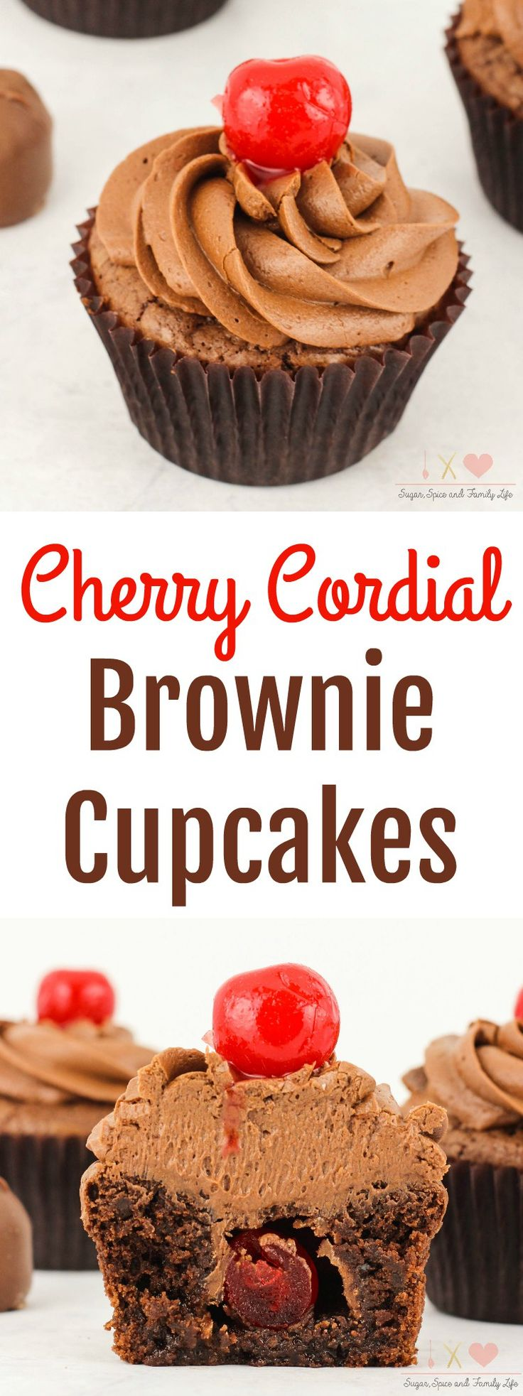 Cherry Cordial Brownie Cupcakes are a delicious chocolate cherry dessert. Each chocolate brownie cupcake is stuffed with a cherry cordial. Then coveredwith chocolate frosting and a maraschino cherry on top. Anyone who enjoys chocolate covered cherries will love this cherry brownie dessert. -  Cherry Cordial Brownie Cupcakes Recipe from Sugar, Spice and Family Life #cherry #chocolate #brownies #cupcakes #chocolatefrosting #cherrycordial #chocolatecoveredcherries #dessert #recipe