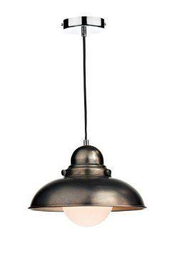 Antique chrome metal pendant light shade - Houseoflights: Amazon.co.uk: Lighting