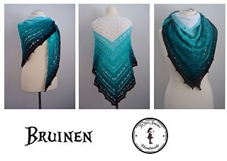 Bruinen - free crochet triangular shawl pattern with charts by Jasmin Räsänen. In English and German.