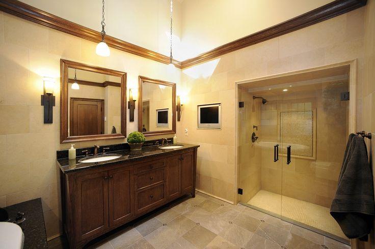 Craftsman Master Bathroom with Flat panel cabinets, Daltile ayers rock majestic mound glazed porcelain, Undermount sink