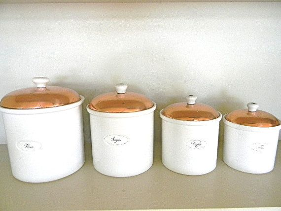 Great Vintage White And Copper Kitchen Canister Set