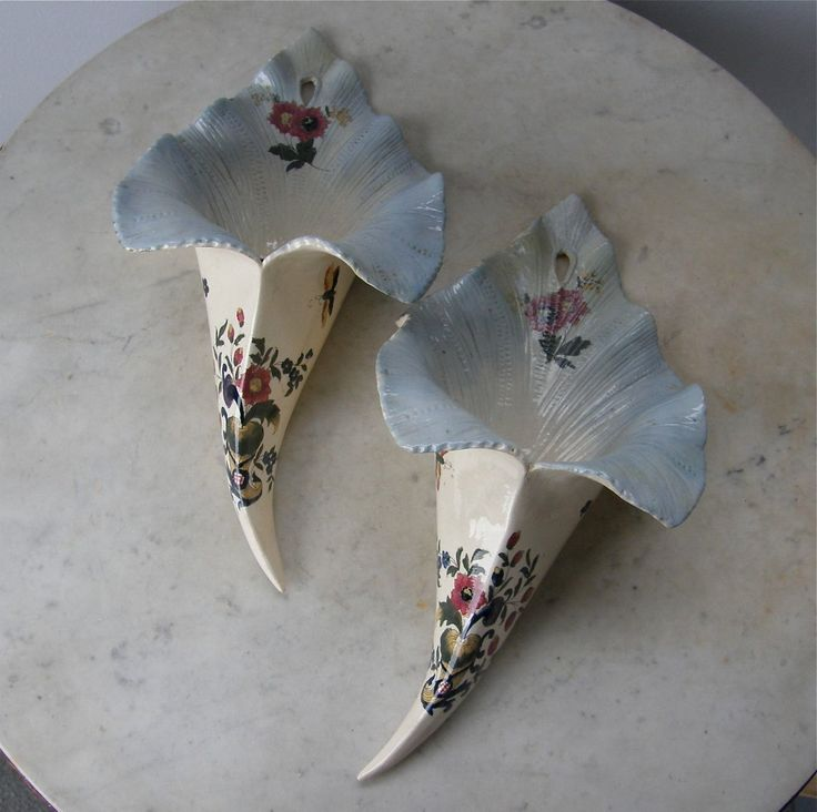 Pair FRENCH WALL POCKETS Faience Faiance Ceramic Floral Design Multi Colors Hanging Sconces Calla Lily Trumpet Shape Hand Painted 1800's by OnceUpnTym on Etsy