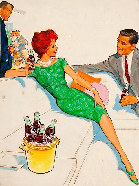 Ilustrated Coca-Cola Print Ad     By Pete Hawley, 1960′s