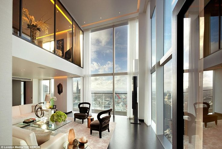 The two luxury penthouses, situated 370ft above London, sit on the top two floors of a newly built 36-storey high tower, The Heron, near Paddington. They have stunning views of the capital, with one of the apartments overlooking the River Thames and The Shard, and have gone on the market for a combined total of £30million