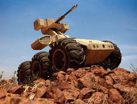 Autonomous robots - all terrain, armed with 50mm cannon and missile array.  What could possibly go wrong?