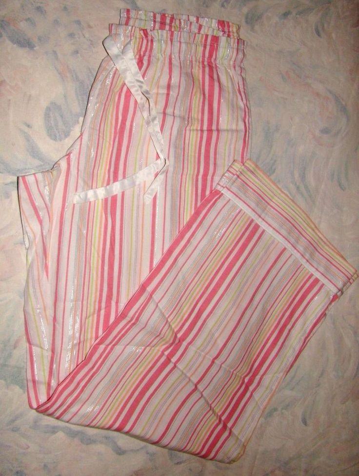 Victorias Secret The Dreamer Flannel Pajama Pants NWT Stripe M pink white green #VictoriasSecret #LoungePantsSleepShorts