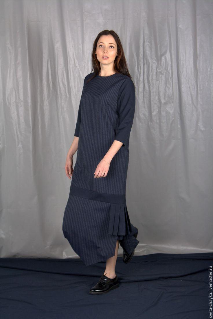 Купить Платье длинное платье макси платье в пол платье в полоску платье синее