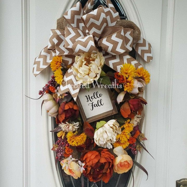 Hello Fall Swag In 2020 Hello Autumn Red Wreath Fall Swags