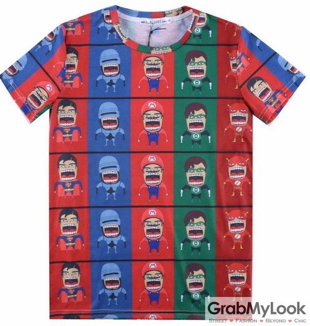 GrabMyLook Colorful Superheros Comics Cartoons Mario Mens Short Sleeves T Shirt