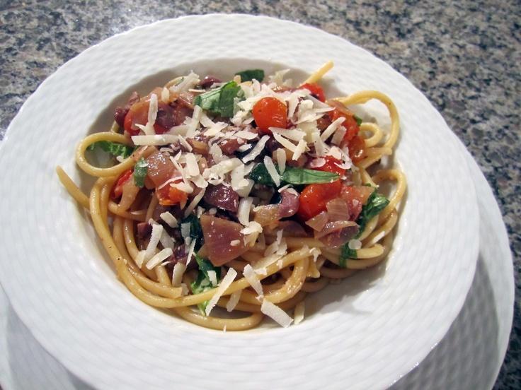 Pioneer Woman's Pasta Puttanesca. http://thepioneerwoman.com/cooking/2012/02/pasta-puttanesca/