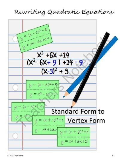 13 Best Vertex Form Images On Pinterest High School Maths Math