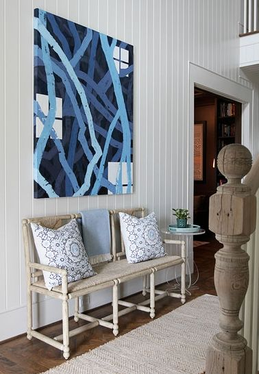 Andrew Howard interior Design - entrances/foyers - foyer, modern cottage foyer, abstract art, art over bench, art over bench, blue canvas art, abstract canvas art, blue abstract canvas art, seagrass bench, beadboard foyer, white beadboard foyer, foyer beadboard, foyer bench,
