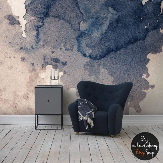Tusche Fleck marineblau Tapete || selbstklebend entfernbar Wandbild ||  Platschen WandKunst ||  Jahrgangswein  #15