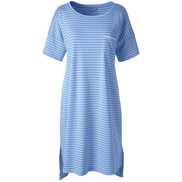 Lands' End Women's Petite Supima Knee Length Gown ($45) ❤ liked on Polyvore featuring intimates, sleepwear, nightgowns, blue, petite nightgown, blue jersey, lands end sleepwear, blue nightgown and petite sleepwear