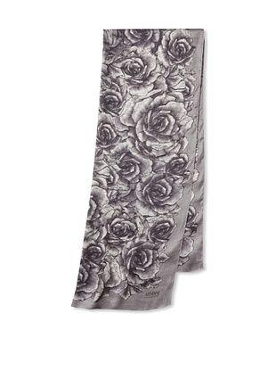 ARMANI COLLEZIONI Women's Silk Rose Scarf, Light Grey