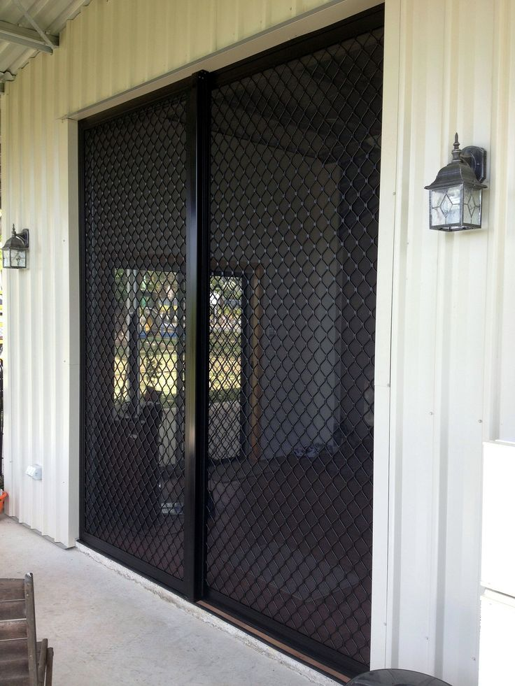 Sliding security screen doors diamond grille pinterest for Sliding glass doors security