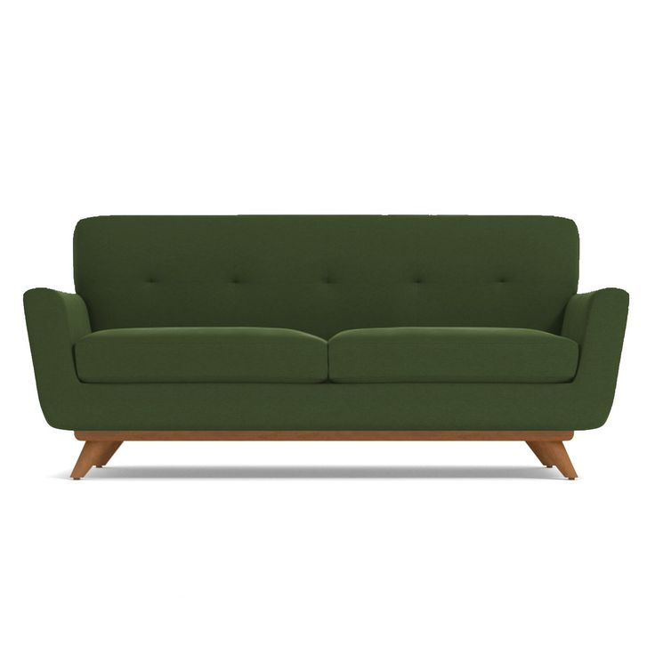 If you choose one midcentury item for your apartment, make sure it's the Carson Apartment Size Sofa. It's both retro and futuristic (look it up - it's a thing), with a flared silhouette, tufted back cushioning and a solid pecan wood base. Look at how those legs angle outward adding to the modern aesthetic. And this sofa isn't just about looks. We're not shallow! Its deep cushions and solid back make for a comfortable respite far from the busy world. This sofa was built with apartment…