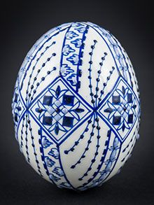 Easter egg in wax technology blue