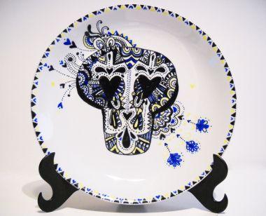 Prato Caveira Azul - Disponível R$150