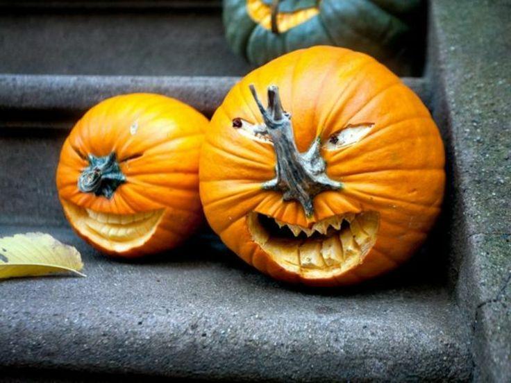 Kürbis Gesicht böse selbstgemacht Halloween #halloween #herbst #autumn #DIY