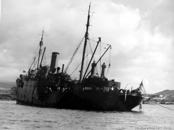 The USS Vestal after the Japanese attack on Pear Harbor, Dec. 7, 1941.