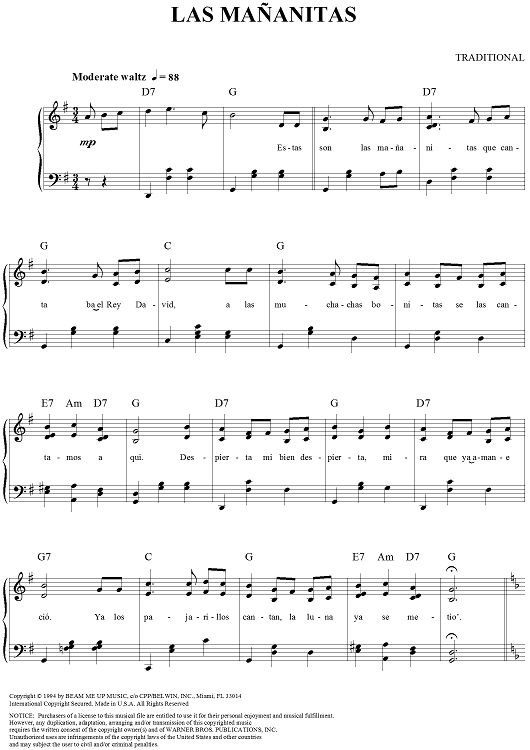 Las Mananitas - Traditional Mexican Birthday Song Violin Sheet music