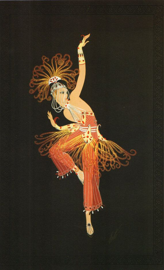"Chique originele Vintage ERTE Art Deco Print ""FIREBIRD"" mode boek plaat"