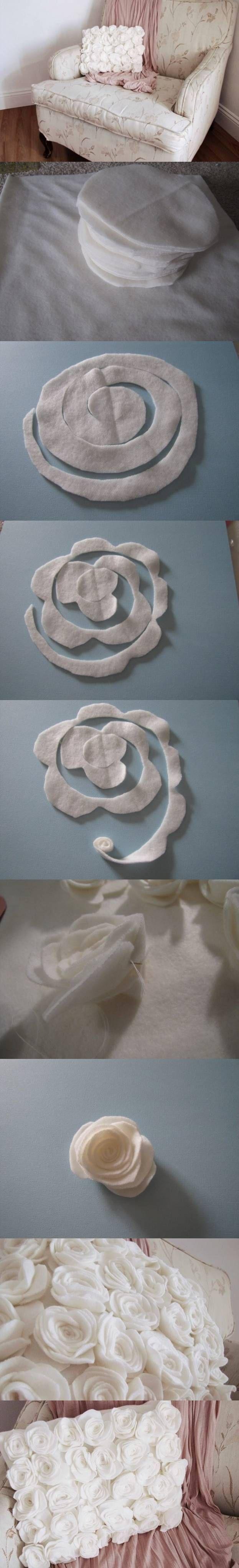 DIY Rose Fleece Pillow
