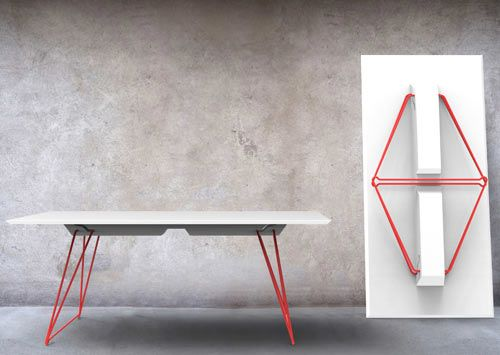 Alexander Lervik has designed a new folding table called Lucy for Swedish furniture company Johanson Design. While most folding tables are simply functional with no real thought put into appearance, Lucy aims to change that with its innovative folding leg mechanism that looks great when the table is set up or folded flat.