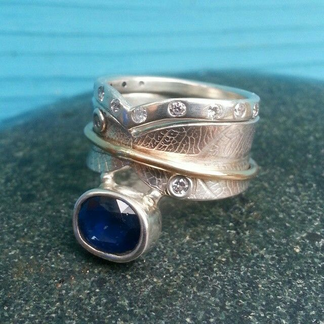 Deluxe Stone Set Bodhi Leaf Ring with Stone Set Chevron Ring