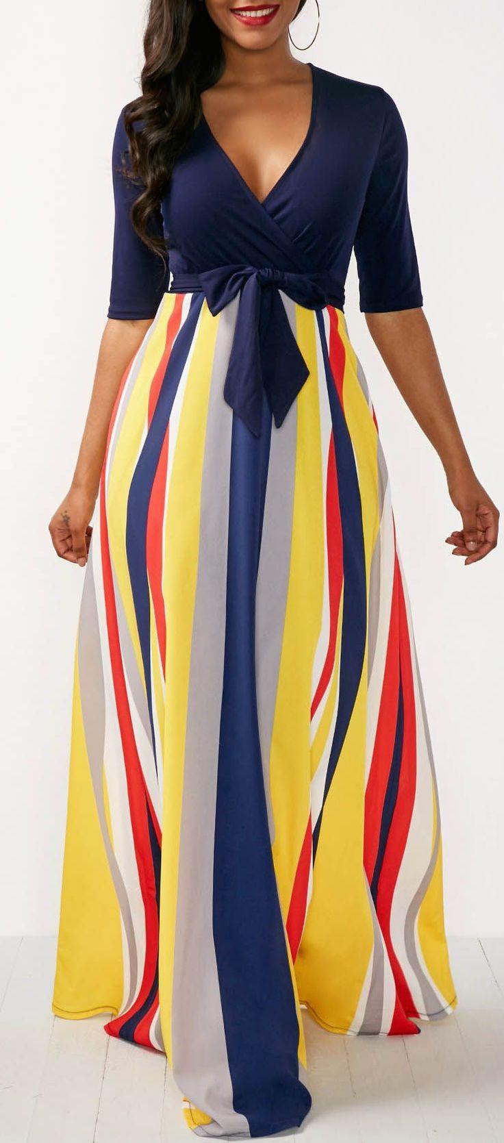 Printed V Neck Half Sleeve Maxi Dress.