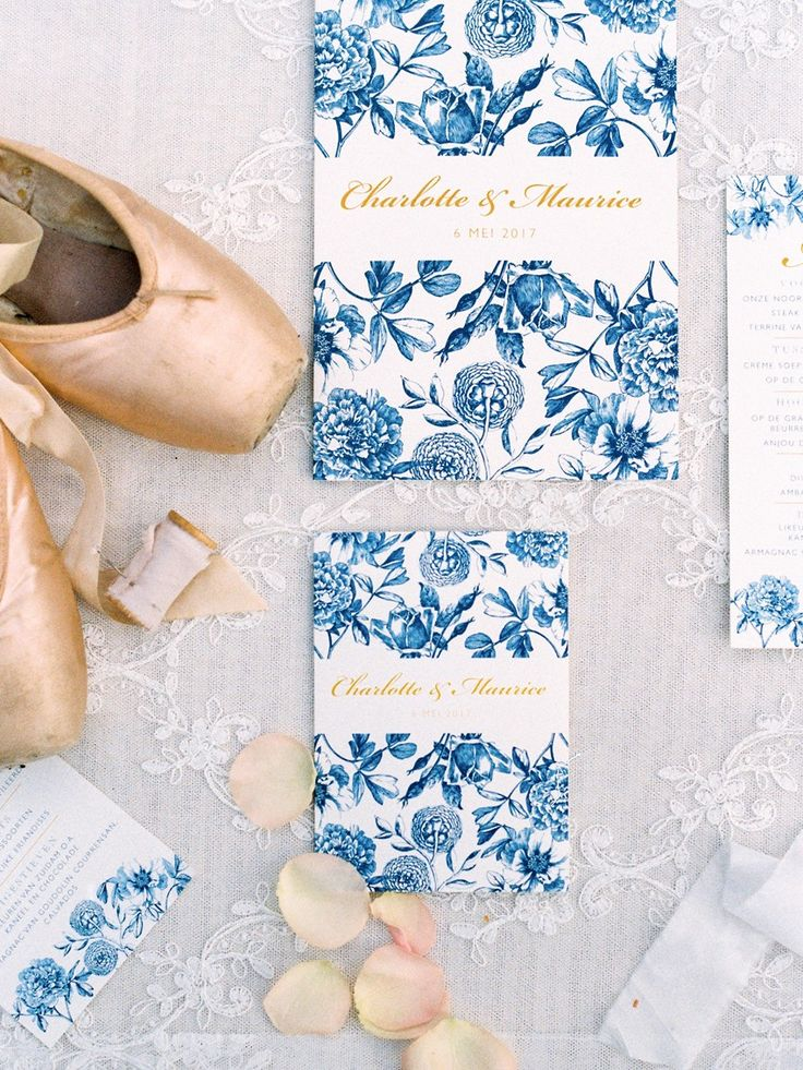 Elegant Blue Floral Wedding Invitation Suite // Photography ~ Chymo More