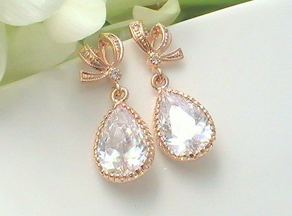 Rose gold bow cubic zirconia earrings! Coupon codes and free personalized gift cards by Crystalshadow