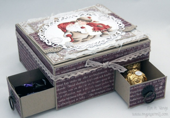 chocolate hearts in a box on top, drawers with Ferrero Rocher and Anthon Berg chocolate underneath - Christmas 2012