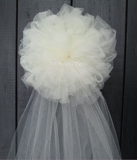 Tulle Half Pom Wedding Pew Bow, White Ivory, Church Aisle Chair, Party, New Mom Bridal Baby Shower, Quinceanera Centerpiece