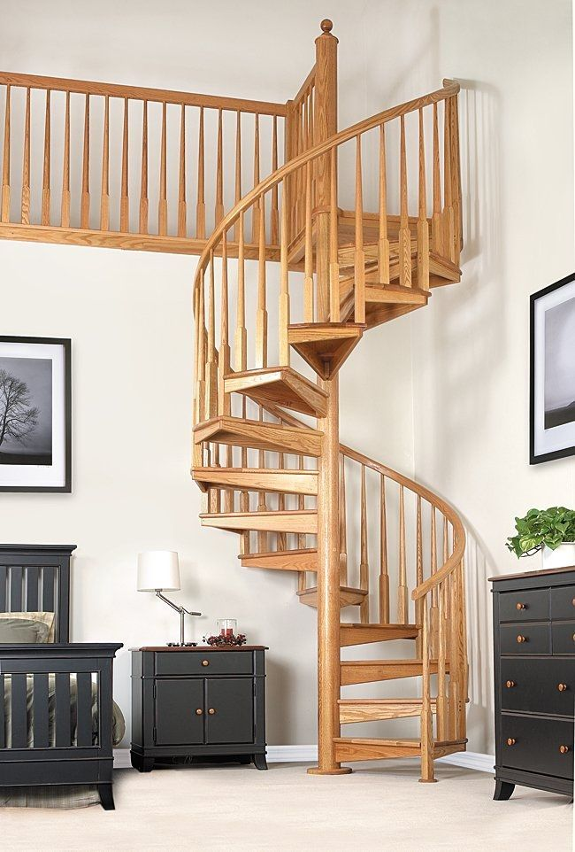 Spiral Staircase / Wooden Steps / Wooden Frame / Without Risers Salter  Spiral Stair
