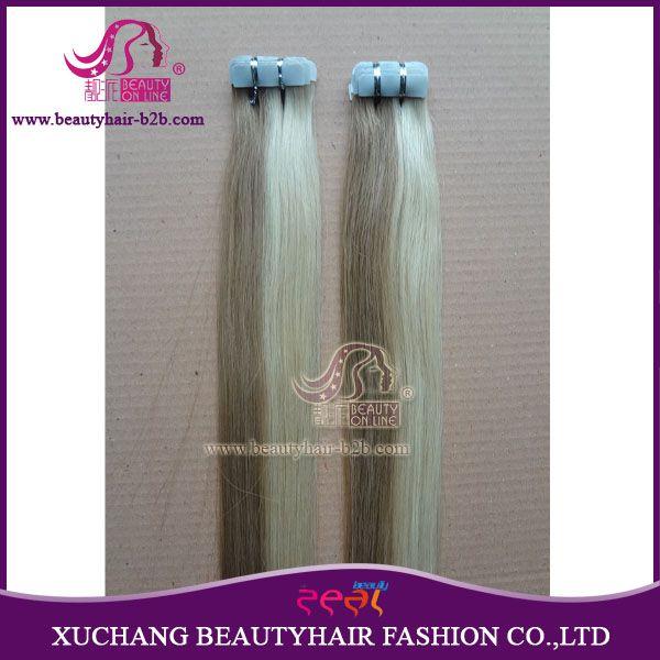 Extensões de tissagem de cabelo de fita remy com cor de pele fornecidas pela  http://www.beautyhairextension.pt/product/show-20-tape-remy-hair-extensions.html