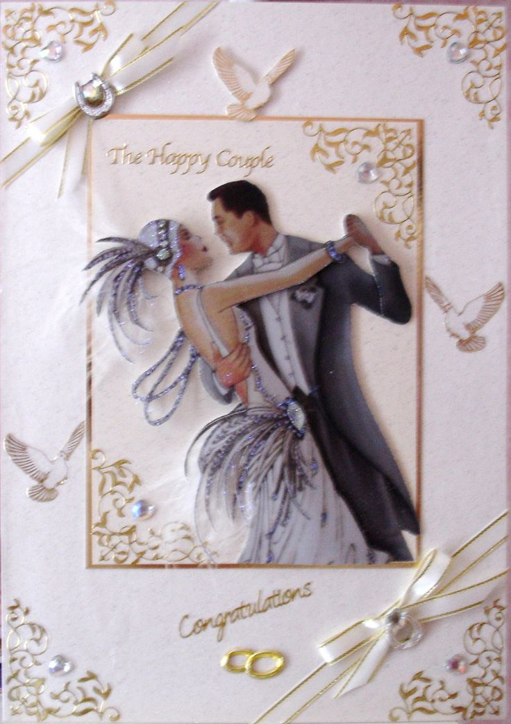 art deco wedding decoupage | Handmade cards Annscards4u | Pinterest