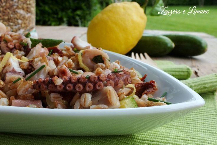 Insalata+di+farro+con+polipo+e+zucchine