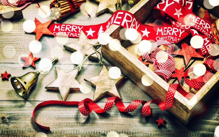 Download wallpapers Christmas, red silk ribbons, New Year, wooden toys, bells, xmas