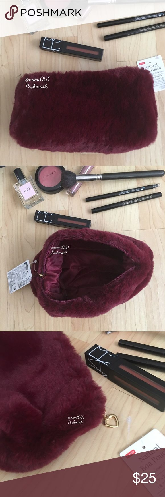 Burgundy Fuzzy Make-Up Pouch NWT Fuzzy fashion is trending now and this cute fuz…